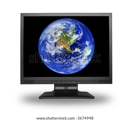 lcd screen with earth, small shadow in front of object - stock photo