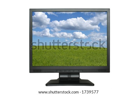 lcd screen with gorgeous landscape - stock photo