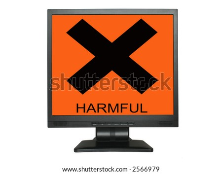 LCD screen with harmful sign isolated on white background - stock photo