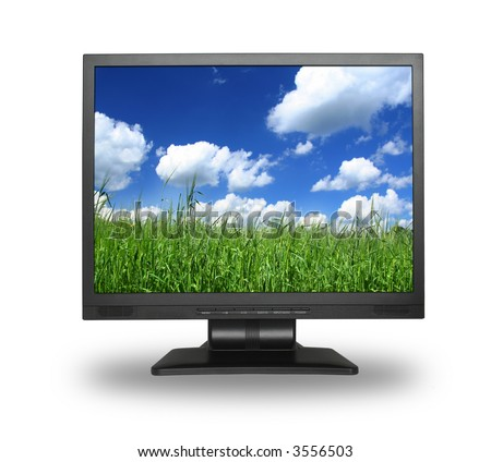 LCD screen with idyllic summer field, photo inside is my property, - stock photo