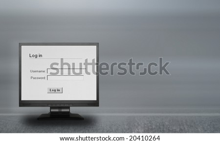 lcd screen with log in screen - stock photo