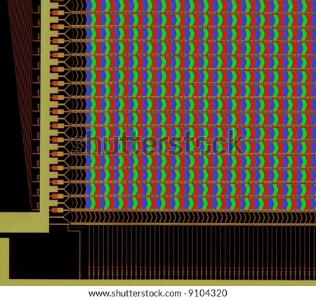 LCD structure with pixels, microscope picture - stock photo