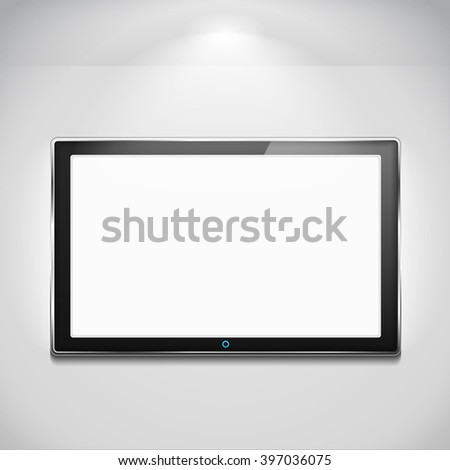 LCD TV hanging on the wall - stock photo