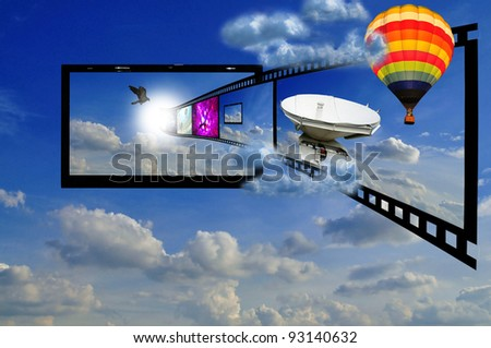 LCD TV in the sky as concept of 3D LCD TV - stock photo