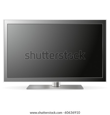 LCD TV isolated on white background (Clipping path included) - stock photo