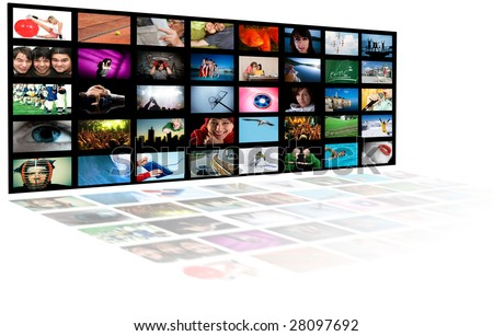LCD TV panels. Television production technology concept - stock photo