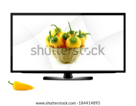 LCD tv screen isolated on white background .  (with clipping work path) - stock photo