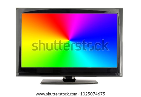 lcd tv screen with rainbow colors isolated on white background