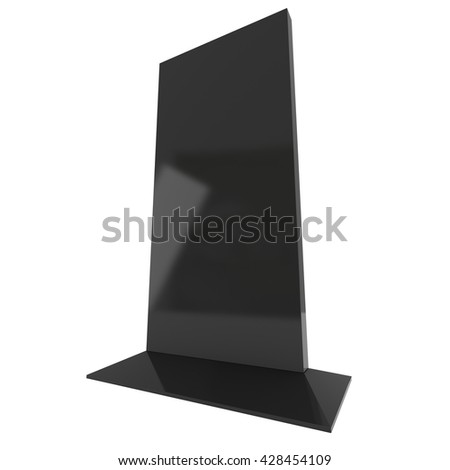 LCD TV Stand. Blank Trade Show Booth. 3d render of lcd tv isolated on white background. High Resolution ad template for your expo design. - stock photo