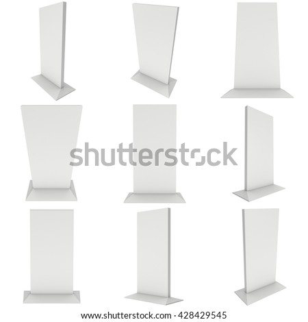 LCD TV Stand. Blank Trade Show Booth Set. 3d render of lcd tv isolated on white background. High Resolution ad template for your expo design. - stock photo