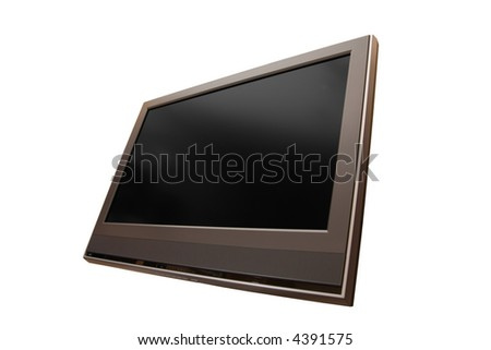 Lcd tv under angle of 60 and over white with body and screen clipping path [1] - stock photo