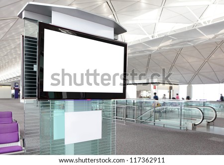 LCD TV with empty copy space at airport shot in asia, china - stock photo