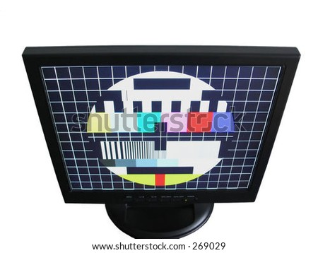 LCD with test screen - isolated - stock photo