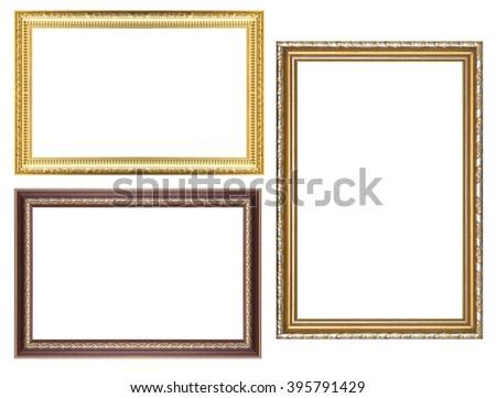 ld Antique gold frame Isolated On White Background - stock photo