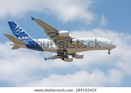 LE BOURGET, FRANCE - JUNE 16, 2015 : The double-deck A380, the world's largest commercial aircraft flying today operating on most of the world's longest commercial routes at the Paris Air Show. - stock photo