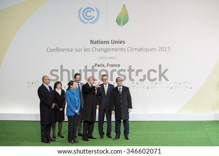 LE BOURGET near PARIS, FRANCE - NOVEMBER 30, 2015 : Francois Hollande, Ban Ki-moon, Laurent Fabius, Segolene Royal and Harlem Desir waiting Heads of state during the arrival at the Paris COP21,  - stock photo