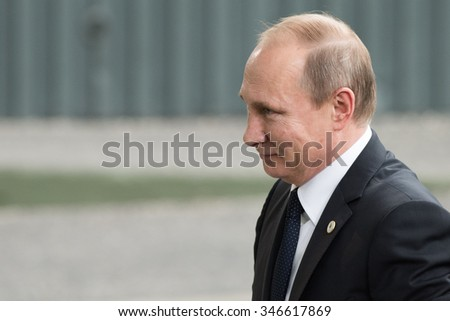LE BOURGET near PARIS, FRANCE - NOVEMBER 30, 2015 : President of Russia Vladimir Putin arriving at the Paris COP21, United nations conference on climate change. - stock photo