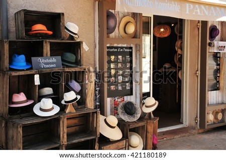 Le Castellet, France - april 20 2016 : a hat shop