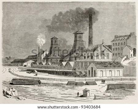 Le Creusot cool mine old view, France. Created by Therond after Bonhomme, published on Le Tour du Monde, Paris, 1867 - stock photo