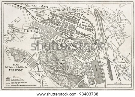 Le Creusot old plan, France. Created by Dumas-Vorzet and Erhard, after Simonin, published on Le Tour du Monde, Paris, 1867 - stock photo