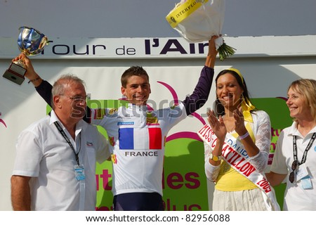 "LE GRAND COLOMBIER, FRANCE - AUG 13: Professional racing cyclist Warren Barguil wears white jersey, young classification of UCI WORLD TOUR "" TOUR DE L'AIN"" on August 13, 2011 in Grand Colombier, Ain"