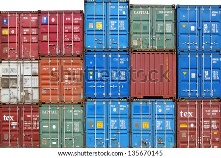 freight shipping containers docks stock photo 62376082 shutterstock. Black Bedroom Furniture Sets. Home Design Ideas