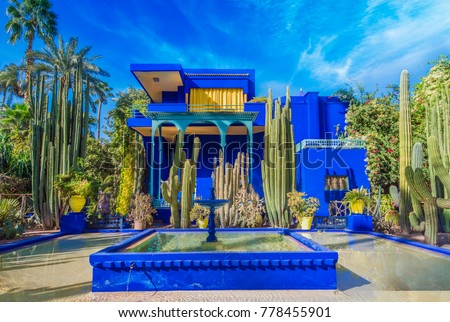 le jardin majorelle marrakech morocco november stockfoto 778455901 shutterstock. Black Bedroom Furniture Sets. Home Design Ideas