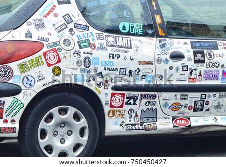 Le mans france april 25 2017 car stickers cover a white car