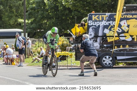 LE MONT SAINT MICHEL,FRANCE-JUL 10:The cyclist Maarten Wynants from Belkin Pro Cycling Team cycling during the stage 11 of Le Tour de France 2013, a time trial between Avranches and Mont Saint Michel - stock photo