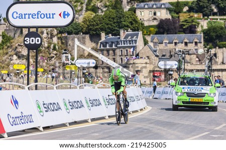 LE MONT SAINT MICHEL,FRANCE-JUL 10:The Dutch cyclist Tom Leezer from Belkin Pro Cycling Team cycling during the stage 11 of Le Tour de France 2013, a time trial between Avranches and Mont Saint Michel - stock photo