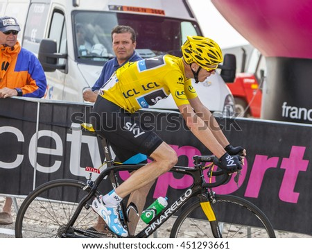 LE MONT VENTOUX, FRANCE-JUL 14:The cyclist Christopher Froome of Team Sky wearing the Yellow Jersey,climbing the ascension to Mont Ventoux during the stage 15 of Le Tour de France on July 14 2013.