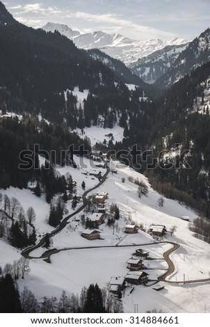 Le Plain village and Mont Blanc massif. Alps, France - stock photo