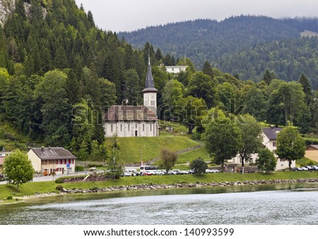 Le Pont is a hamlet in the municipality of La ??abbaye in the canton of Vaud  - stock photo