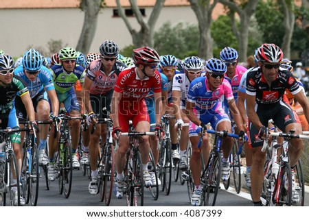 Le Tour de France 2007(Tour of France 2007),  is the most famous and prestigious speeding road bicycle race in the world. - stock photo