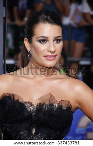"Lea Michele at the Los Angeles Premiere of ""Glee: The 3D Concert Movie"" held at the Mann Village Theater in Los Angeles, California, United States on August 6, 2011."
