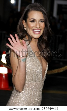 "Lea Michele at the Los Angeles Premiere of ""New Year's Eve"" held at the Grauman's Chinese Theater in Los Angeles, California, United States on December 5, 2011.  - stock photo"
