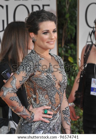 Lea Michele at the 69th Golden Globe Awards at the Beverly Hilton Hotel. January 15, 2012  Beverly Hills, CA Picture: Paul Smith / Featureflash - stock photo