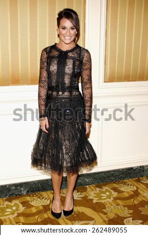 Lea Michele at the The Jonsson Cancer Center Foundation's 17th Annual Taste For A Cure Gala held at the Beverly Wilshire Four Seasons Hotel in Beverly Hills on April 20, 2012.  - stock photo
