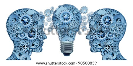 Lead and Learn Innovation strategy with two human brains working together as a business team to find solutions and answers to challenges as gears and cogs with innovative  ligthbulb ideas concept. - stock photo