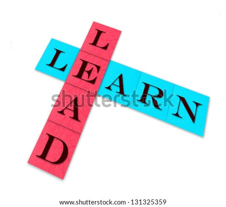 lead and learn, isolated words on color paper