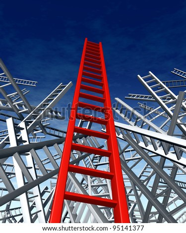 Lead and teach answers and solutions to complex problems as shown with the climbing the ladder metaphor with a confusion problem  and a clear successful business innovative strategy and new ideas.. - stock photo