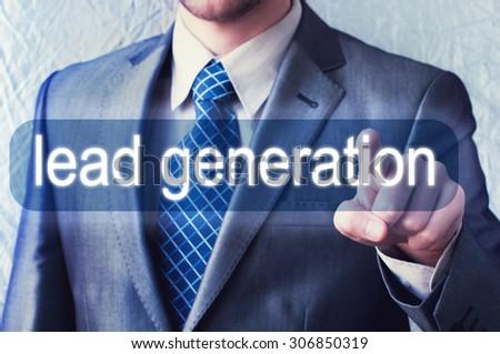 Lead generation button on virtual screen - stock photo