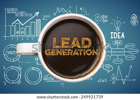 lead generation. coffee mug with business sketches background - stock photo