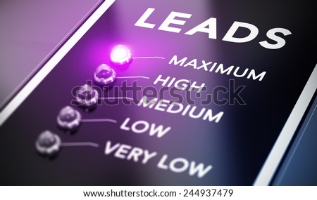 Lead generation concept, Illustration of internet marketing over black background with purple light and blur effect. - stock photo