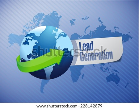 lead generation globe sign illustration design over a world map background