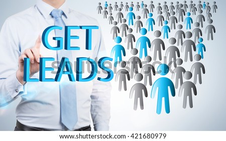 Lead generation with businessman and staff icons. potential client consept. Business people. - stock photo