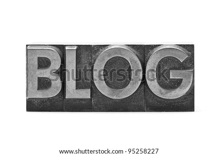 lead letter Blog on white background - stock photo