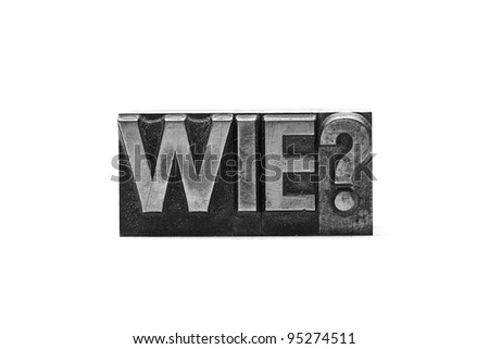 lead letter wie? on white background