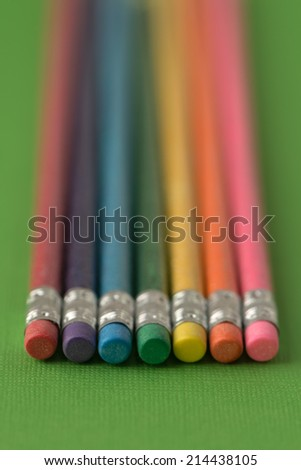 lead pencils, brightly colored with eraser tips