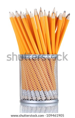 lead pencils in metal cup isolated on white - stock photo